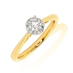 1 Stone Cluster Diamond Ring