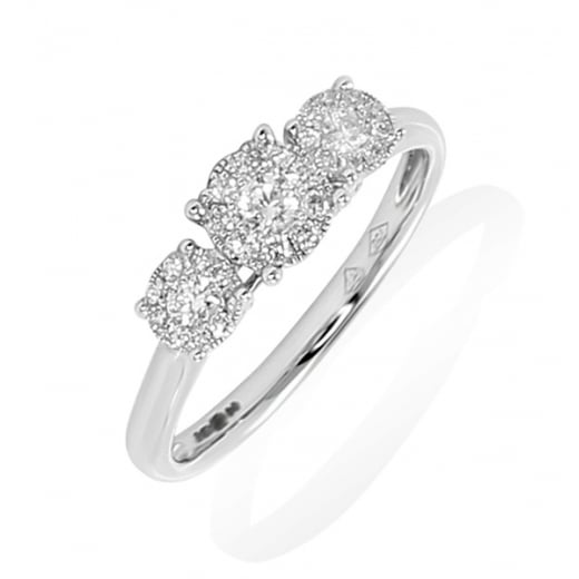 3 Stone Cluster Diamond Ring