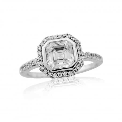 9ct Cz Cluster White Gold