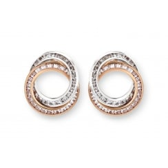 9ct Two Tone Circle Earring