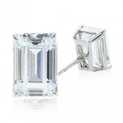 9ct White Gold Emerald Stud Ea