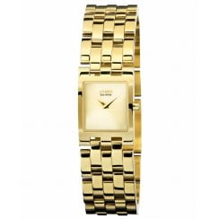 Ladies Square Eco Drive Gold t