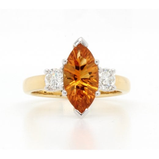 Citrine & Diamond Marquise Rin