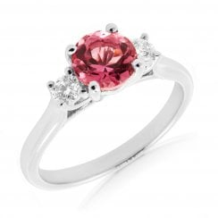'Classic' Trilogy Pink Tourmaline and Diamond Ring