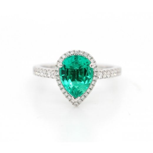 Cultured Pear Emerald & Dia Cl