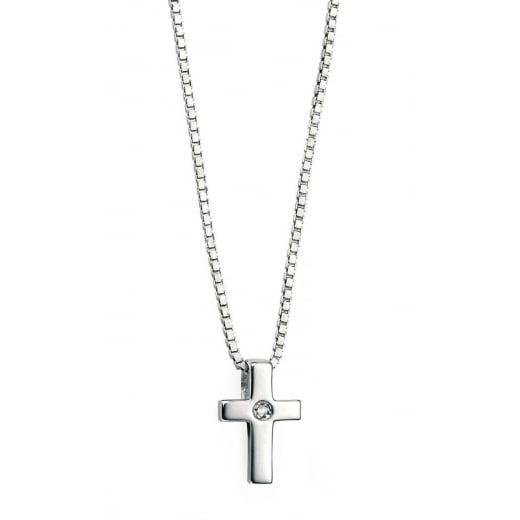 D for Diamond Silver Cross Pendant & Diamond