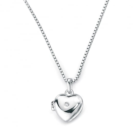 D for Diamond Silver Diamond Heart Locket