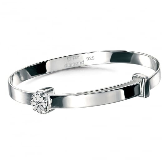 D for Diamond Silver Flower Baby Bangle