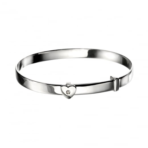 D for Diamond Silver Heart Baby Bangle