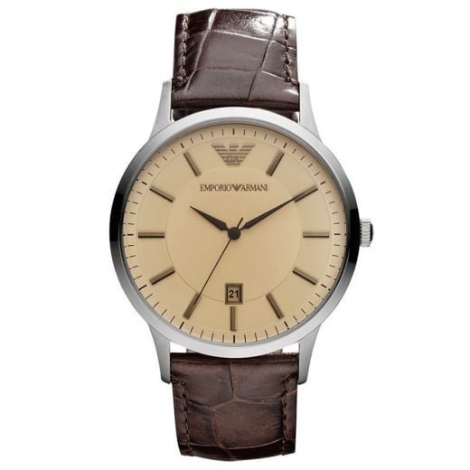1b145a6d848 Emporio Armani Gents Brown Strap Watch - Emporio Armani from ...