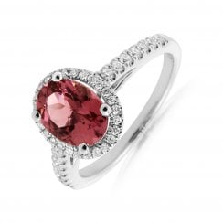 'Fairytale' 1 Stone Pink Tourmaline & Diamond Halo Ring