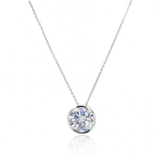 Gold Jewellery 9ct Cz Pendant White Gold