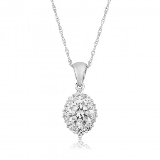 Gold Jewellery 9ct Oval Cz Cluster Pendant