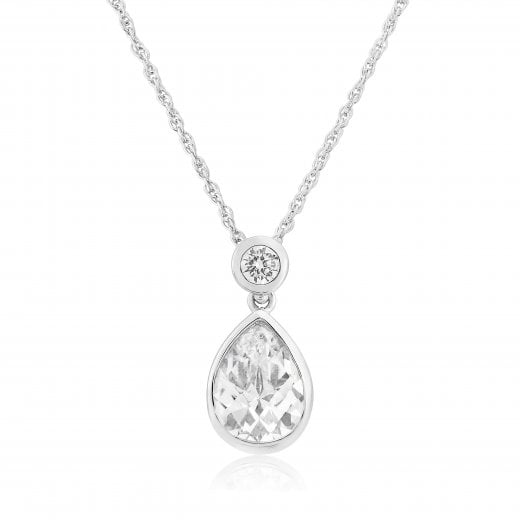 Gold Jewellery 9ct White Gold Pear Cz Pendant