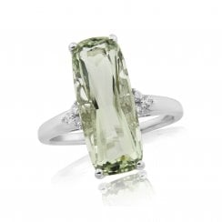 Green Amythest & Diamond Ring