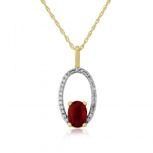 Gold Jewellery Ruby And Diamond Pendant