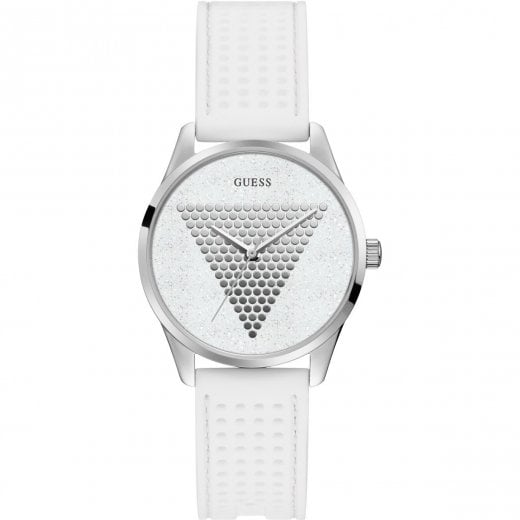 Guess Ladies Imprint White Strap