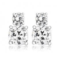 Silver Double Cz Earrings