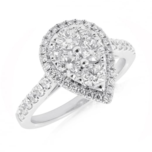 Pear Cluster Diamond Ring 0.92