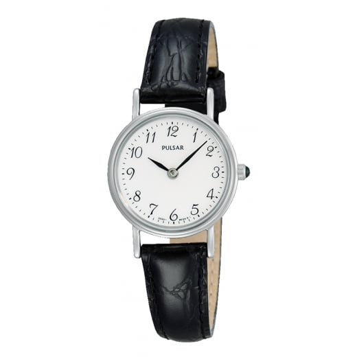 Pulsar Black Leather Strap Watch