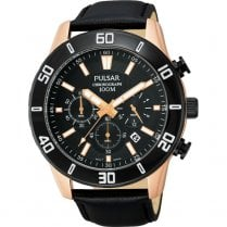 Gents Chronograph Black Leather Strap