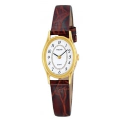 Gold Tone Leather Strap Watch