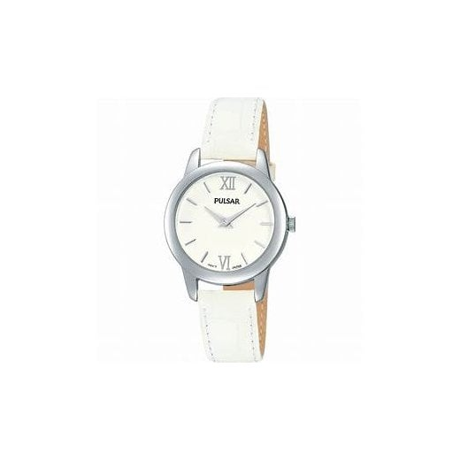 Pulsar Ladies White Leather Strap