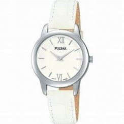 Ladies White Leather Strap