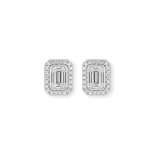 Silver Emerald Cut Earrings
