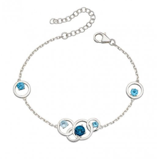 Silver Jewellery Blue Stone Multi Ring Bracelet