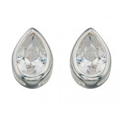 Silver Cz Pear Rubover Studs