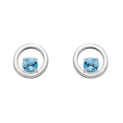 Silver Jewellery Stud Blue Topaz Open Circle