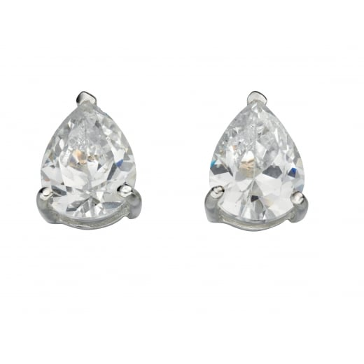 Silver Pear Cz Earrings