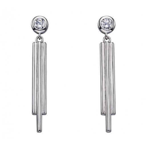 Silver Pipe Cz Stud Drop Earrings