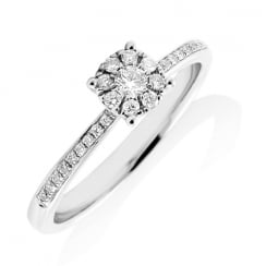 Solitaire Cluster Diamond Ring