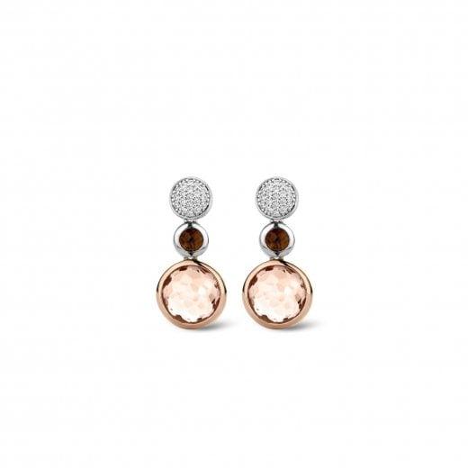 Ti Sento Milano Brown Rose Stone Drop Earrings