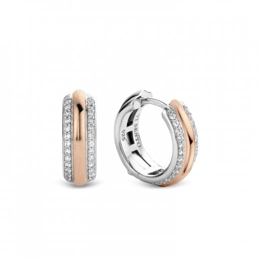 Ti-Sento Milano Rose Tone and CZ Hoop Earrings