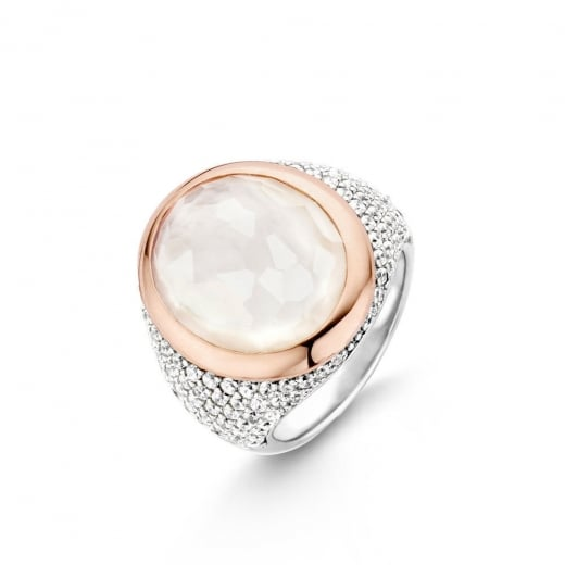 Ti-Sento Pave Set Mother Of Pearl Ring