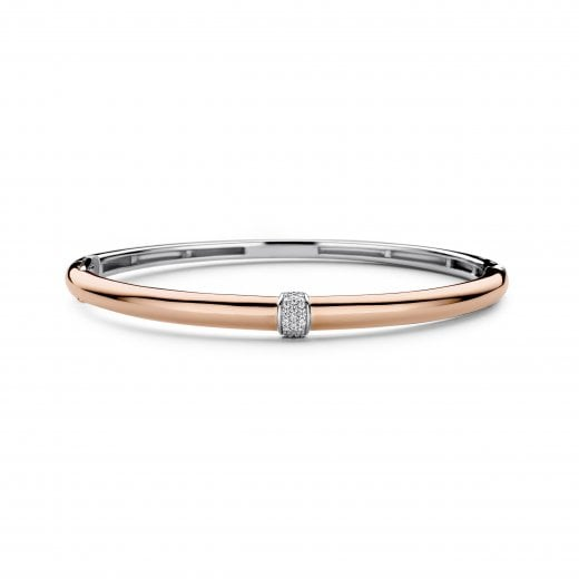 Ti-Sento Rose Tone & Pave Top Bangle