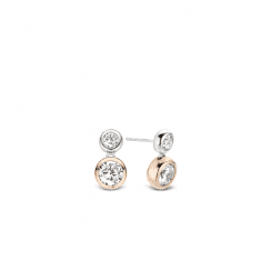 Silver Drop CZ Rub Earrings