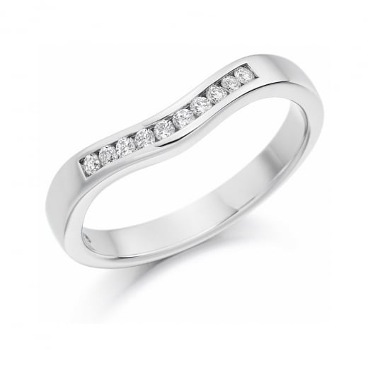 White Gold Curved Diamond Band